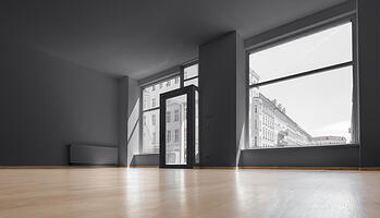 vacant rental room with windows